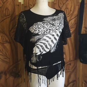 Peacock  Frayed Top